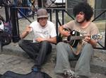 Dan Harding and Josh Pardell busking in the Buttermarket in Canterbury