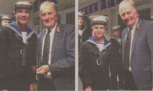 OC Wickens, above left, and Cdt 1st Class Saunders, above right with Sir Roger Gale MP