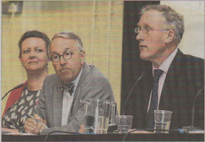 Medical director Dr Claire Butler, chairman of trustees Dr Richard Morley and Julian Brazier MP, who chaired the meeting