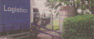 The lorry which brought down the memorial arch in April