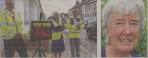 Community warden Dave Neame operates a speed watch in Herne Bay with volunteers Sandra Marvin and Trevor Turner; right, Cllr Carol Davis