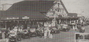 The racing cars fined up outside the Pier Theatre on the seafront