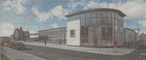 Artist's impression of how the 16,500 sq ft Aldi supermarket in King's Road, Herne Bay, will look