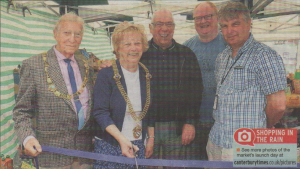 OPEN FOR BUSINESS: Lord Mayor of Canterbury Cllr Ann Taylor cuts the ribbon with her husband Bob, Cllr Peter Vickery-Jones, Gideon Scott of Herne Bay Town Partners and town manager Chris West