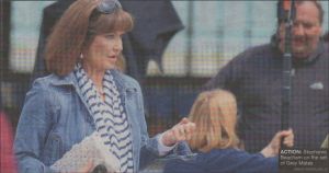 ACTION: Stephanie Beacham on the set of Grey Mates
