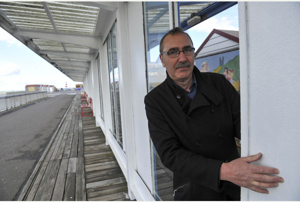 Council trustee Andrew Cook and the shattered wind on Herne Bay pier