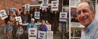 Campaigners outside Whitstable library. Right, Richard Stainton