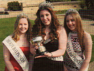CROWNED: Miss Herne Bay Alice Upton, 18, with Princesses Emma Hudson, 15, and Kelly Roy, 16