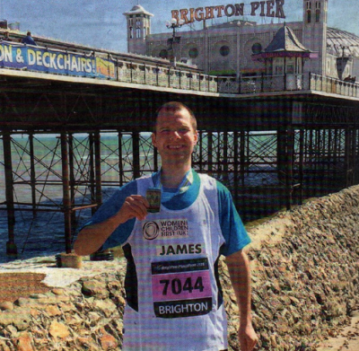 FUNDRAISER: James Bennett after running this month's Brighton Marathon