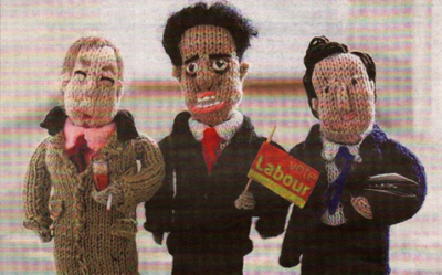 Pat Wilson's knitted models include, from left, Nigel Farage, Ed Miliband and David Cameron