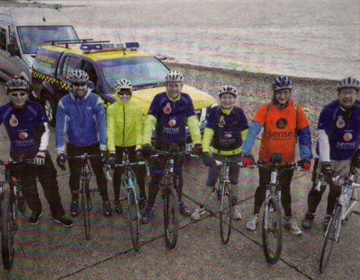 Kent Coastguards on their sponsored bike ride from Rochester to Dover at Hampton, Herne Bay, raising cash for Sense