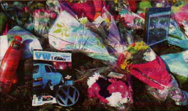 Flowers and messages left at the scene
