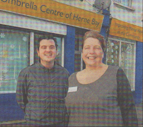WARM WELCOME: Anne Stevenson and Matthew Healy want more people to visit Herne Bay Umbrella Centre